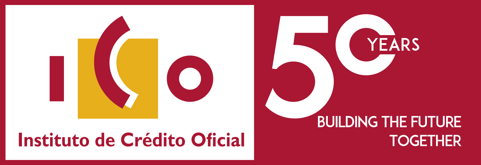 Logo ICO 50 years working together looking to the future.